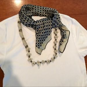 Anthropologie white/blue necklace with scarf